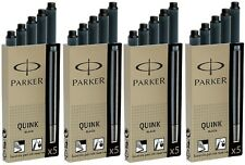 20 x Parker Quink Ink Fountain Pen Cartridges Black - UK Made In France