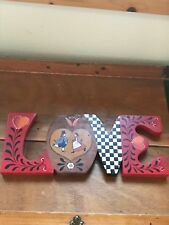 Vintage Hand Painted Red & Black Country Rosemaling Wood Wooden Love Wall Plaque