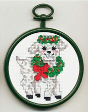 Cross Stitch Mini Kit ~ M.C.G. Lamb Wearing Christmas Wreath w/Frame #15382
