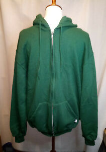 Russell Athletic Hooded Zip Front Size Medium Green Sweatshirt see description