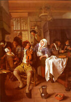 STEEN JAN INTERIOR OF A TAVERN ARTIST PAINTING REPRODUCTION HANDMADE OIL CANVAS