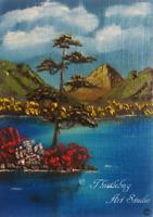 ACEO Mountain Ocean  Oil Painting Valentines Gift Original Artwork Art Card