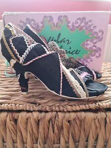 Irregular choice heels size 39 uk 6 black textille used
