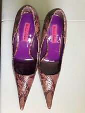 "MICHEAL ANTONIO Womens Purple/Brown Textured Animal Print 4"" Pencil Heels SZ. 8"