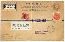 EE47 1946 GB REGISTERED USA DUES Wembley Sub-office KGVI Stationery Philadelphia