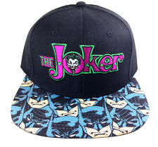 DC COMICS THE JOKER TEXT LOGO SUBLIMATED BATMAN FACES BILL SNAPBACK HAT CAP NWT