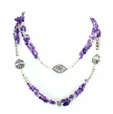 Necklace natural purple amethyst gemstone beautiful beaded 93 grams long length