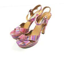 Steve Madden Raimi Platform Heels 10 Pink Striped Canvas Open Toe Sandals