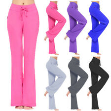 Women Yoga Plain Pants Sweatpants Jogging Bottoms Sports Workout FlareTrousers J