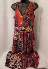 Robbie Bee Woman's Brown/Orange/Black/White/Green Design Dress Size L