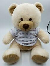 "Build A Bear Cream Bear with T Shirt Stuffed Animal 13"" sitting"