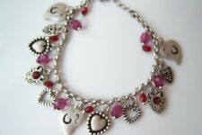 NWT LIA SOPHIA *KATIE* Bracelet Crystal Red Purple antique silver Heart Charms