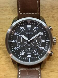 Mens Citizen Eco-Drive CA4210-24E Stainless Steel Chronograph Leather Band Watch