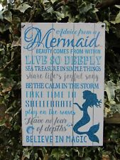 Fair Trade Hand Made Mermaid Metal Art Childrens Girls Wall Hanging Plaque Sign