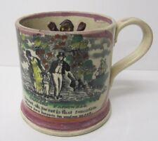 Sunderland pink lustre  ware Frog Mug  Antique pottery Sailors Fairwell