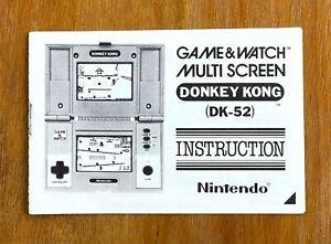 Genuine Mint 1980s Donkey Kong DK-52 Nintendo Game & Watch INSTRUCTION MANUAL #2