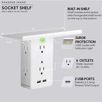 Multi Plug Socket Shelf 8 Port Surge Protector Wall Outlet 2 USB Charging Ports