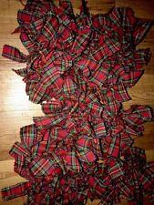 Christmas Red tartan plaid Fabric primitive 5 Ft Handmade rag Garland