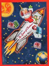 Vintage Style Christmas Card UNUSED MCM Santa In Rocketship Gifts Smiling Moon