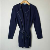 J. McLaughlin Navy Cotton Cashmere Tie-Waist Cardigan Sweater Faux Leather Small