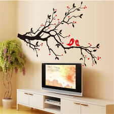 Red Love Heart Wall Stickers Bird Branches Decal DIY PVC Art