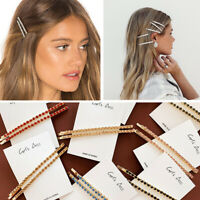 1Pair Women's Fashion Rhinestone Hair Clip Pin Crystal Hairpin Slide BarrettBDA
