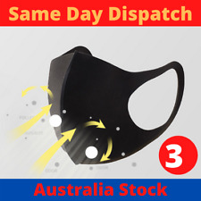3 x Washable Reusable Face Mask Mouth Cover Respirator Pollution Dust Protection