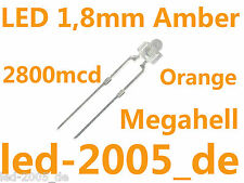 50 x LED 1.8mm Amber,2800mcd,LED 1.8mm Amber,Bernstein,Orange,Oranges,Arancio,