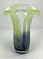 Teleflora Hand Blown blue green speckled art Glass Vase flared lip