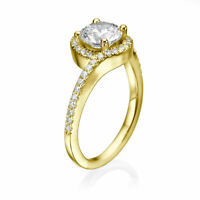 H/VS1 Round Cut Diamond Engagement Ring 1.50 CT 18K Yellow Gold Amazing