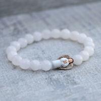 Angel Bracelet 8mm White Jade Hand Painted Peruvian Ceramic Stretch Fit
