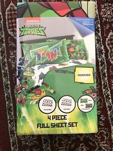 TMNT Rise of the Teenage Mutant Ninja Turtles Full Microfiber Sheet Set 4 Piece