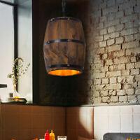 Hanging Wood Wine Barrel Fixture Ceiling Pendants Lamp Lighting Bar Cafe Light
