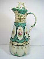 Vintage Nippon? Ceramic Scalloped Gold Guilt Moriage Floral Pot Pitcher W/Lid