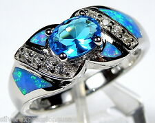 London Blue Topaz & Blue Fire Opal Inlay 925 Sterling Silver Ring Size 6 or 8