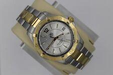Tag Heuer Gold Aquaracer Watch Mens WAF1120.BB0807 $2K 2Tone SS Silver Mint Dial