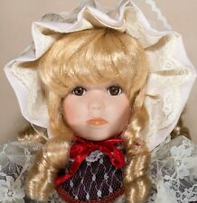 "Collector's Porcelain Doll Blond Hair Brown Eyes Eyelashes 16"" + Stand"