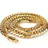 24K Gold Filled Heavy Stainless Steel Curb Cuban Link Chain Men Necklace 10mm