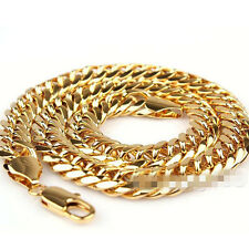 10mm 24K Gold Plated Filled Mens Necklace Solid Cuban Curb Link Chain Jewelry