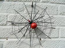 Metal Wall Art - Spider on Web - Spider Sculpture - Metal Red Spider & Web