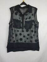 Coast ladies top sleeveless 2-pieces buttoned neck black size 16 new 003
