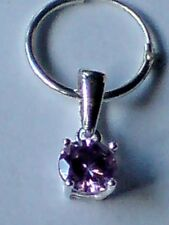 SINGLE STERLING SILVER MENS 15mm.HOOP EARRING with 8mm AMETHYST STONE £7.50  NWT