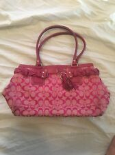 COACH Hampton Braid Carryall Signature Pink Tote F13068 HANDBAG PURSE
