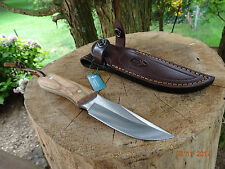 "7 1/8"" OVERALL LENGTH MUELA FIXED BLADE KNIFE OLIVE WOOD HANDLE 440C BLADE LEATH"