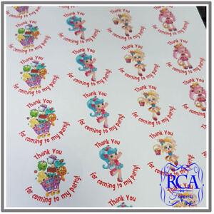 24 x Kids Birthday Thank You 45mm Circle Stickers Variety Pack Shopkins Designs