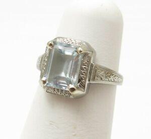 Ostby Barton 10K White Gold 1.42C Emerald Cut Aquamarine Etched Ring Size 4.25