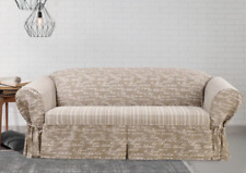 Sure Fit Vintage Script 1 Piece Sofa Slipcover with Cord tan