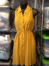 Midnight Sky Mustard Colored Dress Sz Small Sleveless Lattice Back AQ20