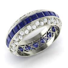 3.50 Ct Natural Diamond Blue Sapphir Eternity Band 14K White Gold Ring Size 5 6
