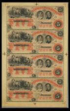 1800's $5 THE FARMERS BANK OF KENTUCKY, UNCUT SHEET OF 4